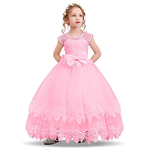 NNJXD Princess Lace Tulle Flower Girl Wedding