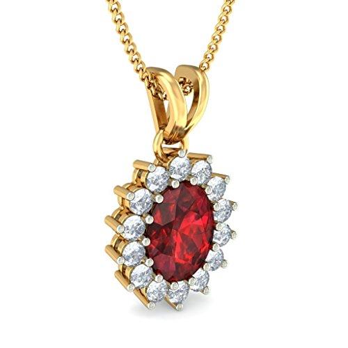 14K jaune Or 0,6CT TW Round-cut-diamond (IJ | SI) et grenat Pendentif