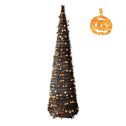 YuQi Halloween Decorations-6FT Pop Up Tinsel Pencil Trees with Plump Shiny Pumpkin, Collapsible Artificial Halloween Xmas Black Tree with Plastic Stand for Store & Office &Classroom, Party Decor -