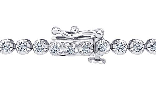 Beverly Hills Jewelers 1.00 Carat tw Beautiful White Gold Round Brilliant Cut Shiny White (I Clarity) Diamond Ladies Tennis Bracelet.Secure Double Clasp. Bracelet Box Included. by Beverly Hills Jewelers (Image #2)