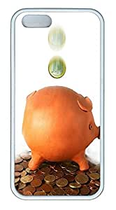 iPhone 5 5S Case Pig savings TPU Custom iPhone 5 5S Case Cover White