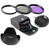 55mm UV CPL FLD Filter Set with Lens cap Lens Hood for digital camera canon nikon pentax sony camera