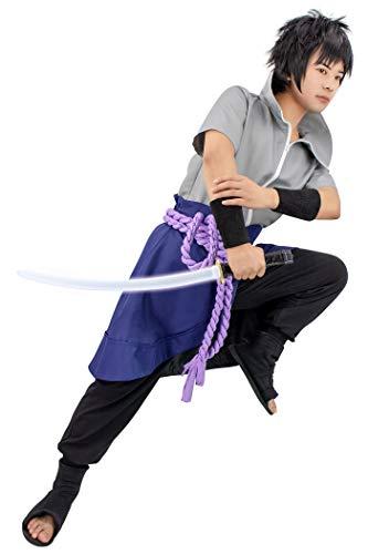 DAZCOS US Size Anime Uchiha Sasuke Cosplay Costume with Wristbands Rope (Men M) Grey