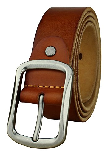 [Heepliday Men's Soft Genuine Leather Belt Small 30-32 Silver Buckle Light Brown Leather] (Light Brown Leather Belt Strap)