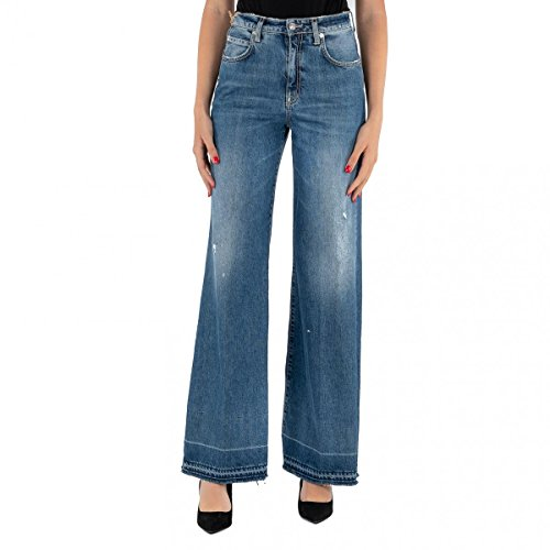 PEOPLE(+)(+) Jeans Donna (Blue Denim Palazzo Vita Alta PW3000 Made IN Italy