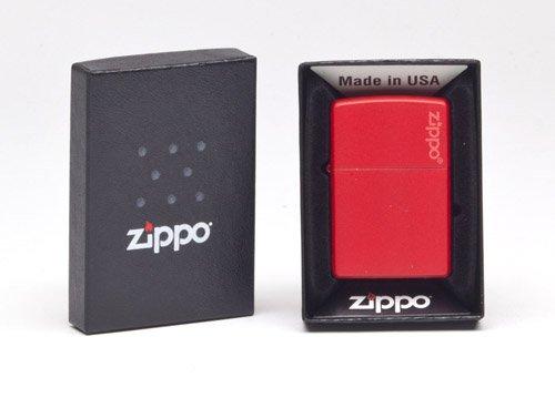 (Zippo Logo Red Matte Pocket Lighter )