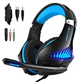 Choyur GM-5 Gaming Headset Compatible Xbox One, PS4, PC, Controller, Noise Cancelling Over Ear Headphones with Mic, LED Light Bass Surround Soft Memory Earmuffs Computer Laptop Mac Switch Game