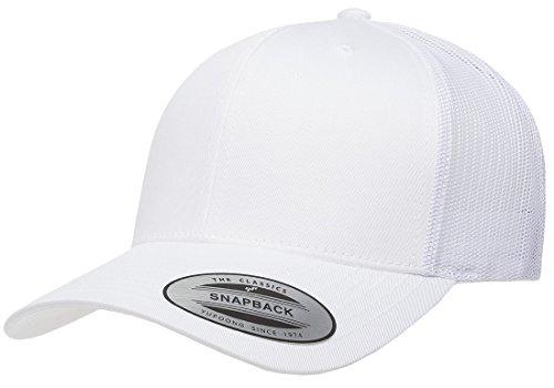 Cap White Trucker (Acorn Yupoong Classic 6606, 6606T, 6606W, Retro Trucker Hats, Mesh Back Baseball Caps (White))