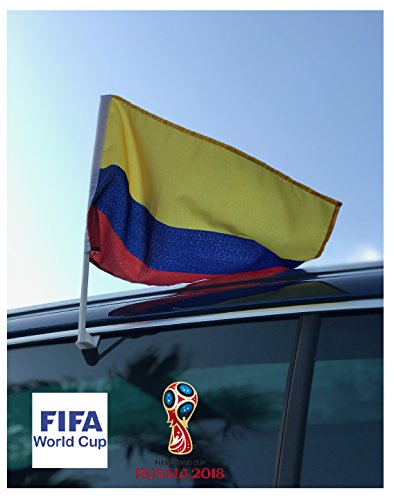 In the Breeze Colombian Flag Car Flag - Double Sided - Hooks onto Car Window (Flag Hook Banner)