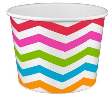 Chevron Rainbow Ice Cream Cups 16 oz - 50 count