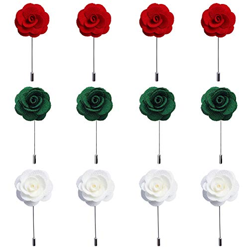RareLove 12pcs White Lapel Pin Rose Wedding Boutonniere Set for Men Flower (Red,White and Green Multi) - Black White Tie Collection Flowers