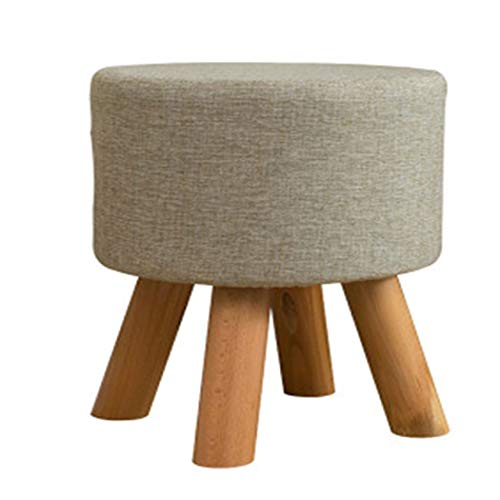 YONGYONG-hammock Detachable Wooden Bench Solid Wood Small Round Stool Change Shoe Bench Fabric Sofa Stool Low Stool Four Foot Stool Creative 404035CM (Color : Gray, Size : 404035CM)
