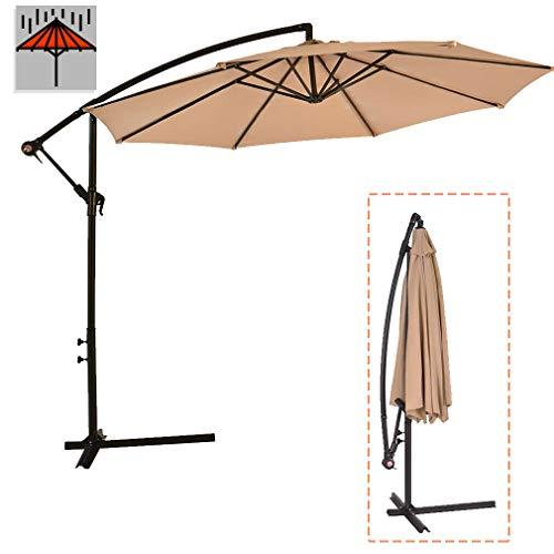 SMART CHOICE AMERICA New Tan Patio Umbrella Offset 10' Hanging Umbrella Outdoor Market Umbrella D10