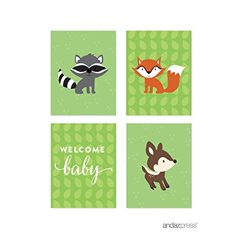 Forest Baby Shower Collection, Party Signs, Graphic Decorations, 4.25x5.5-inch, 20-Pack ()