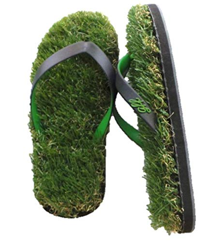 Grass Flip Flops with Anklet (XS, Black/Green)