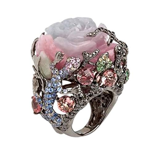 potato001 Women Peony Flower Lizard Pattern Rhinestone Inlaid Ring Band Party Jewelry 7