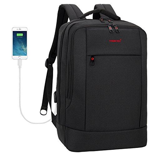Uoobag Slim Laptop Backpack with USB Charging Port Business Computer Travel Backpacks Fits for 15.6 Inch Laptop Black - Executive Backpack