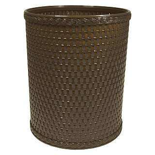 Chelsea Collection Decorator Color Round Wicker Wastebasket ESPRESSO