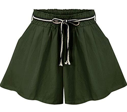 XinDao Women's Petite Elastic Waist Wide Leg Flare Pleated Shorts Culottes Army Green US XS/Asia XL ()