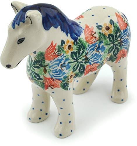 Polish Pottery Horse Figurine 6-inch Dotted Floral Wreath UNIKAT ()