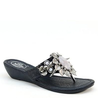 7b70ab3ee147 Brieten Gem Floral Studded Thong Flip Flop Wedge Sandals (5.5)