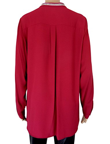 Womens mandarina cuello plata Trim Túnica Blusa Rosso