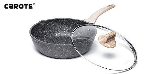 Carote 12.5 inch Nonstick Deep Frying Pan with glass lid,Stone-Derived Non-Stick Granite Coating From Switzerland