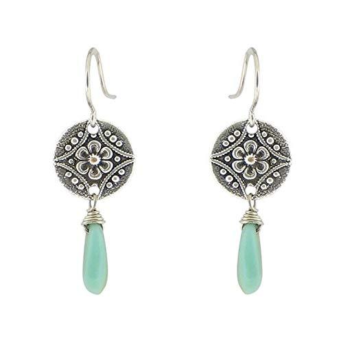 Medallion Coin Teardrop Silver Hanging Leverback Dangle Earrings (Green Blue)