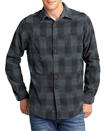 Tailor Vintage Mens 2 in 1 Reversible Button Down Shirt (L, Graphite)