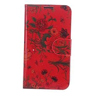 CL - Flor roja de la PU del patrón de cuero de caso completo del cuerpo con el soporte y la ranura para tarjeta para Samsung Galaxy Note N7100 2