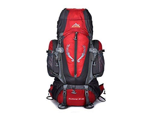OHlive Grosse Kapazität Große Kapazität professionelle Bergsteigen Tasche 85L wasserdichte Aufhängung im Freien Bergsteigen Tasche (rot)