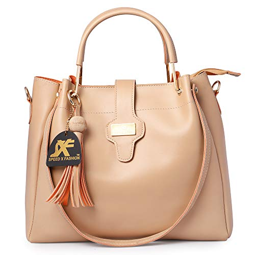 Speed X Fashion Women's Leather Handbag(Cream)
