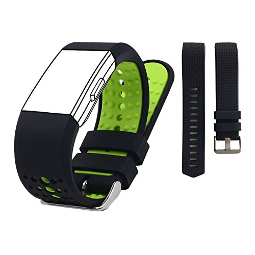 KisFace Fitbit Charge 2 Replacement Elastomer Bands, Accessories Wristbands,Two-tone Edition and Black Classical Edition(pack of 2) ()