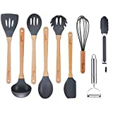 Cooking Utensils Set Vemico 9 Piece Kitchen Utensils Set Wooden Handles Silicone Non-stick Utensils BPA Free Non Toxic Turner Tongs Spatula Spoon Chef Kitchen Tool Set With Peeler(Grey)