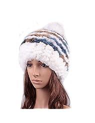 UK.GREIFF Womens Fashion Warm Stretch Multicolor Fur Winter Hat Beanie Skully