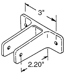 "Chrome Plated Zamac Two Ear Wall Bracket for Restroom Partitions. Holds 1-1/4"" Thick Panels. 3"" Between Mounting Holes"