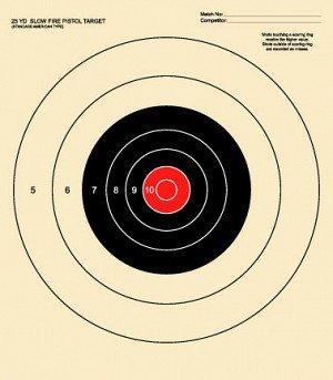 25 Yard Slow Fire Pistol Target Official NRA Target B-16 (Red, 100) (Target Nra B2)