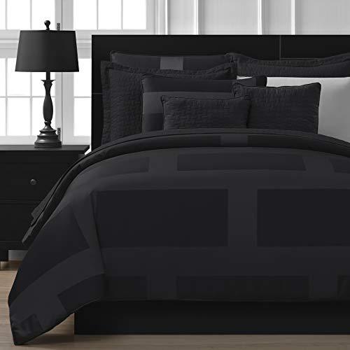 Black Queen - Comfy Bedding Frame Jacquard Microfiber 5-piece Comforter Set (Queen, Black)