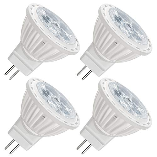 (VWV MR11 LED Light Bulb, AC120 Voltage,4W (35-40W Halogen Equivalent), 36°Beam Angle, 350-400Lm, Track Lighting, Recessed Light, Non-Dimmable 6000K White Light (4-Pack))