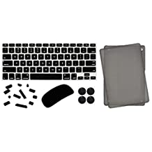 """5 in 1 Lilware Universal Acssesories Set for Apple MacBook Air 13"""". Set of Smooth Touch Slim Matte Hard Plastic Case (for Model: A1369) + Waterproof USA Keyboard Cover (Compatible Also with Apple MacBook Pro 13.3"""" and 15.4 """"with Retina Display) + Magic Mouse Softskin Protector + Anti Dust Plugs + 4 Pack Replacement Rubber Feet. Black / Grey"""