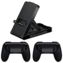 1 Pair ABS Abrasion Resistance Grip Handle for Nintendo Switch Joy-Con Controller + Adjustable Angle Foldable Stand Playstand Bracket for Nintendo Switch