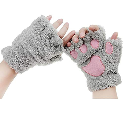 (Women Girls Cute Cat Kitten Bear Plush Paw Claw Fingerless Gloves Faux Fur Bear Hand Gloves Soft Winter Gloves Mittens Halloween Cosplay Fancy Party Dress up Role Play Props Xmas)