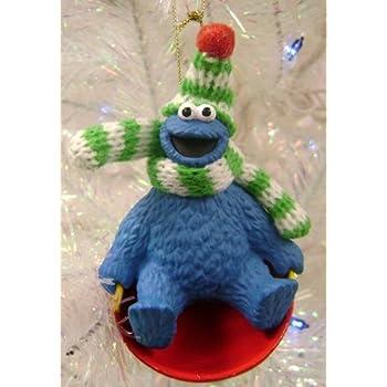 Kurt Adler 3 5 Sesame Street Cookie Monster On Sled Christmas Ornament