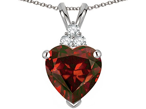 Star K 8mm Heart Shape Genuine Garnet Three Stone Pendant Necklace 14 kt White Gold ()