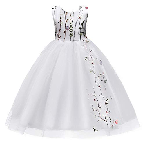 MOREMOO Little Big Girls Flowers Embroidery Sleeveless Wedding Party Dress(White 7-8 -