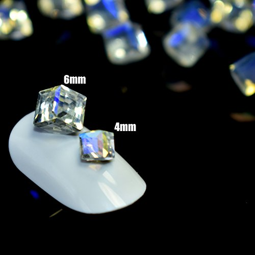 25pcs Cube Square Nail Crystal Stones Transparent Design Glass Rhinestones 3D Nail Art Charms Nail Tips Decoration (4mm, (Rhinestone Cube)