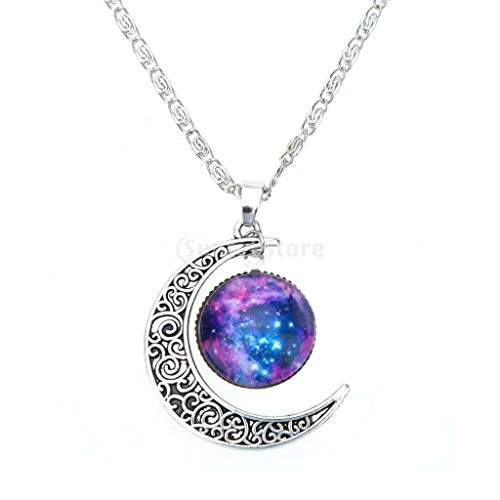 Glass Hollow Moon Crescent Pendant Silver Chain Necklace Jewelry Necklace Jewelry Crafting Key Chain Bracelet Pendants Accessories Best ()