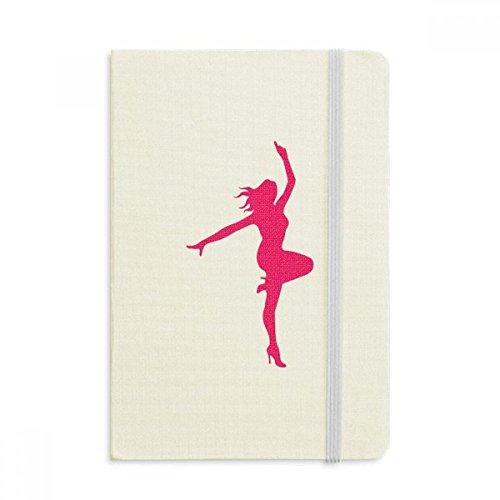 Cuaderno de ballet de danza rosa con tapa dura de tela para niña, diario clásico A5