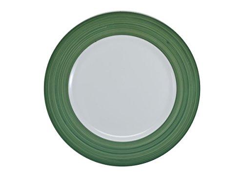 Prato Raso Porcelana 27 cm Branca Borda Verde Schmidt - SCH 610