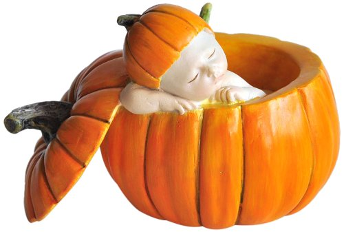 Sleeping Fairy Baby in Orange Pumpkin Statue